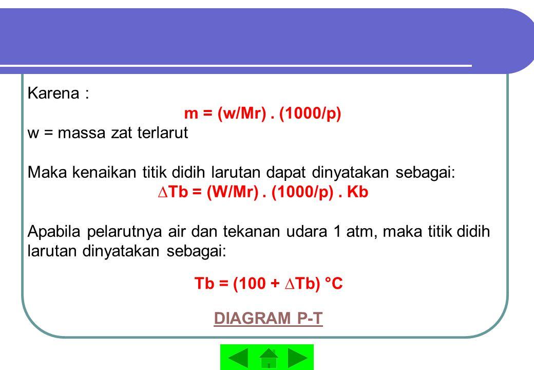 Karena : m = (w/Mr). (1000/p) w = massa zat terlarut Maka kenaikan titik didih larutan dapat dinyatakan sebagai: ∆Tb = (W/Mr). (1000/p). Kb Apabila pe