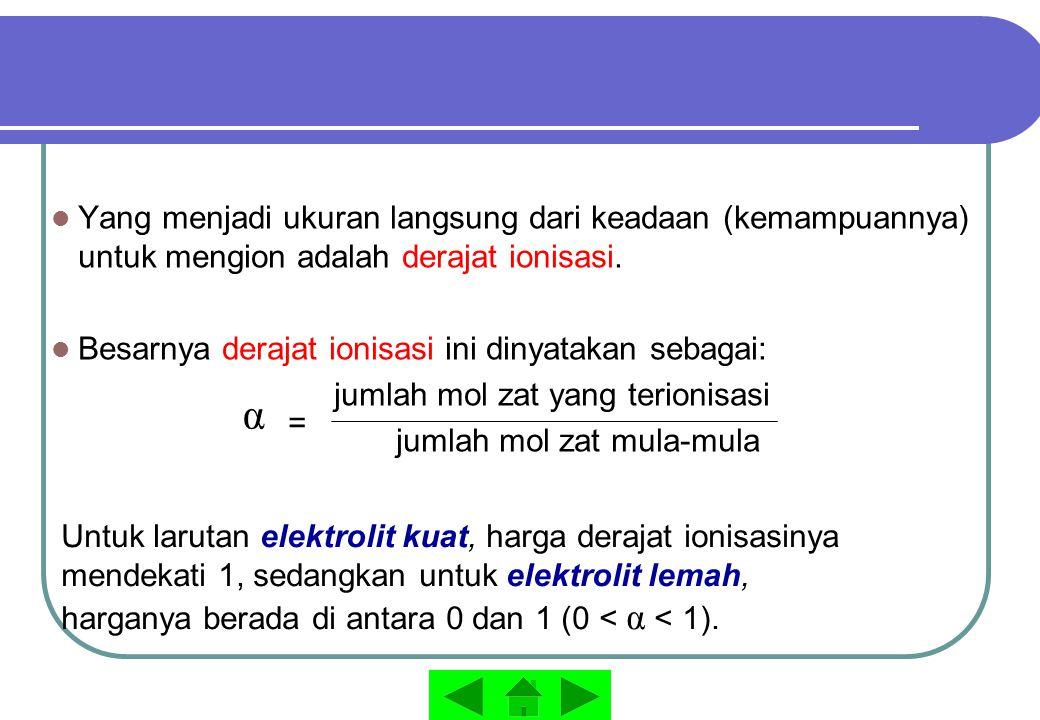 Yang menjadi ukuran langsung dari keadaan (kemampuannya) untuk mengion adalah derajat ionisasi. Besarnya derajat ionisasi ini dinyatakan sebagai: juml