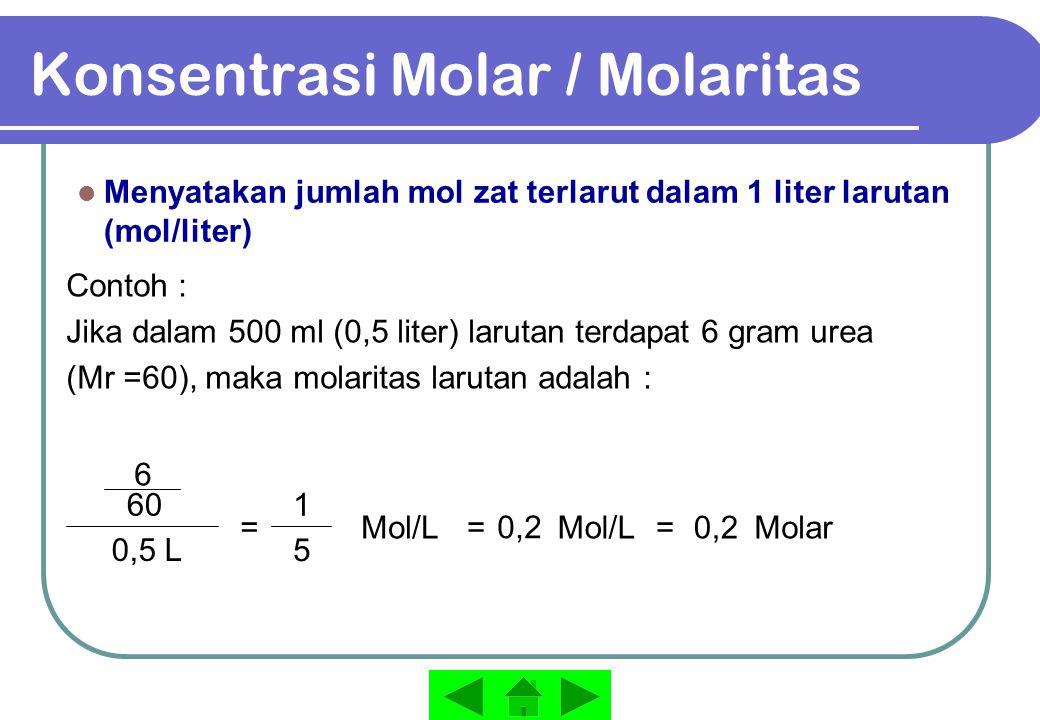 Konsentrasi Molal / Molalitas Menyatakan jumlah mol zat terlarut dalam 1000 gram (1 kg) pelarut Contoh : Jika dalam 250 gram (0,25 kg) air, terdapat 6 gram urea (Mr =60), maka molalitas larutan adalah : 6 0,25 kg = 60 molal0,4= m