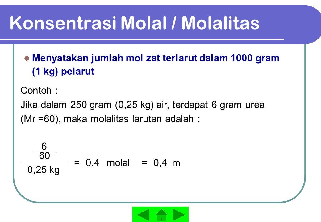Konsentrasi Molal / Molalitas Menyatakan jumlah mol zat terlarut dalam 1000 gram (1 kg) pelarut Contoh : Jika dalam 250 gram (0,25 kg) air, terdapat 6