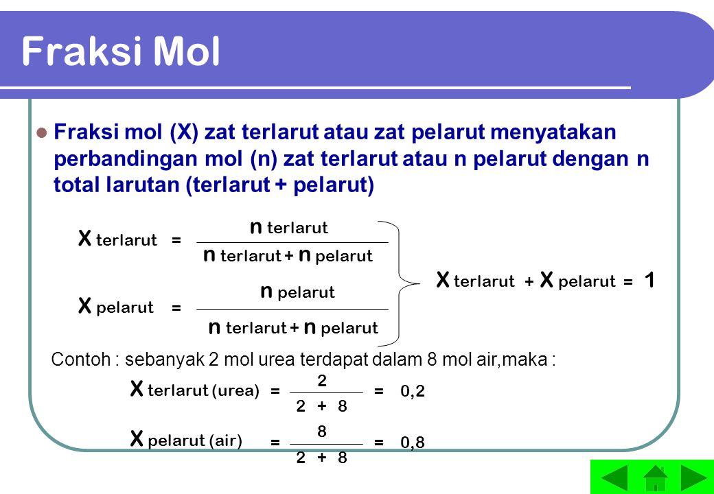  T f 100 0 Suhu ( o C ) 1  T b titik beku air titik beku larutan titik didih air titik didih larutan garis didih larutan garis beku larutan garis beku air garis didih air  T f = penurunan titik beku larutan  T b = kenaikan titik didih larutan titik tripel