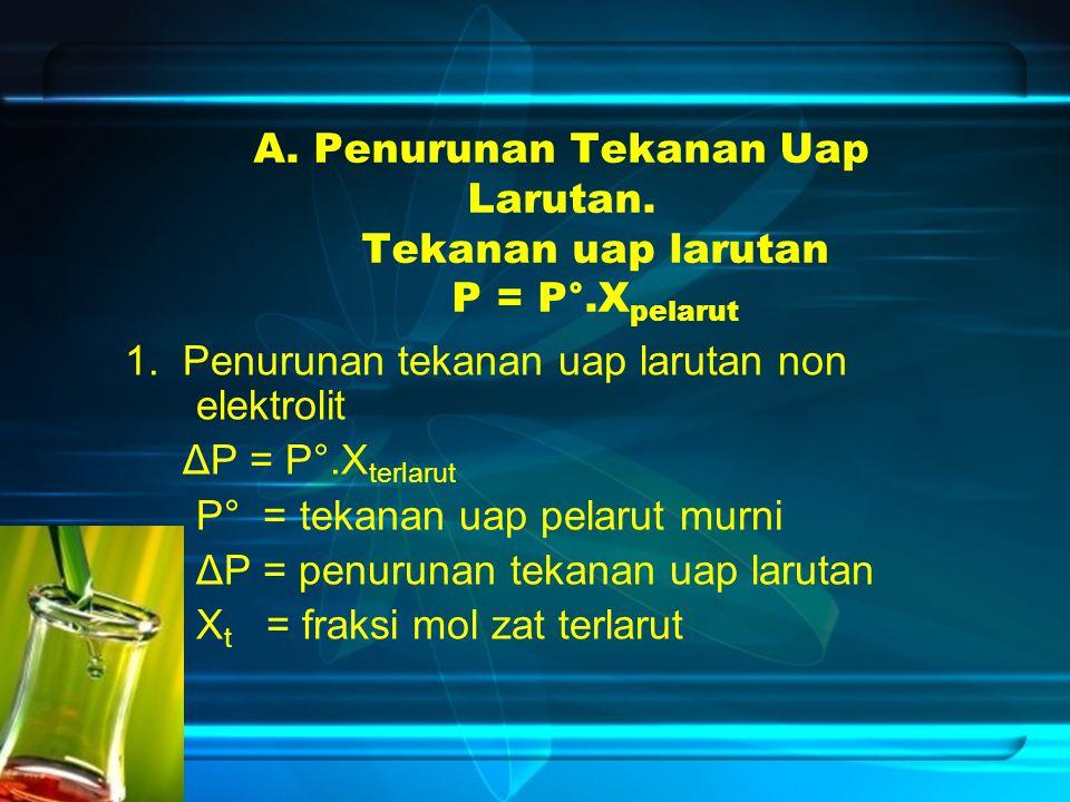 A. Penurunan Tekanan Uap Larutan. Tekanan uap larutan P = P°.X pelarut 1. Penurunan tekanan uap larutan non elektrolit ΔP = P°.X terlarut P° = tekanan