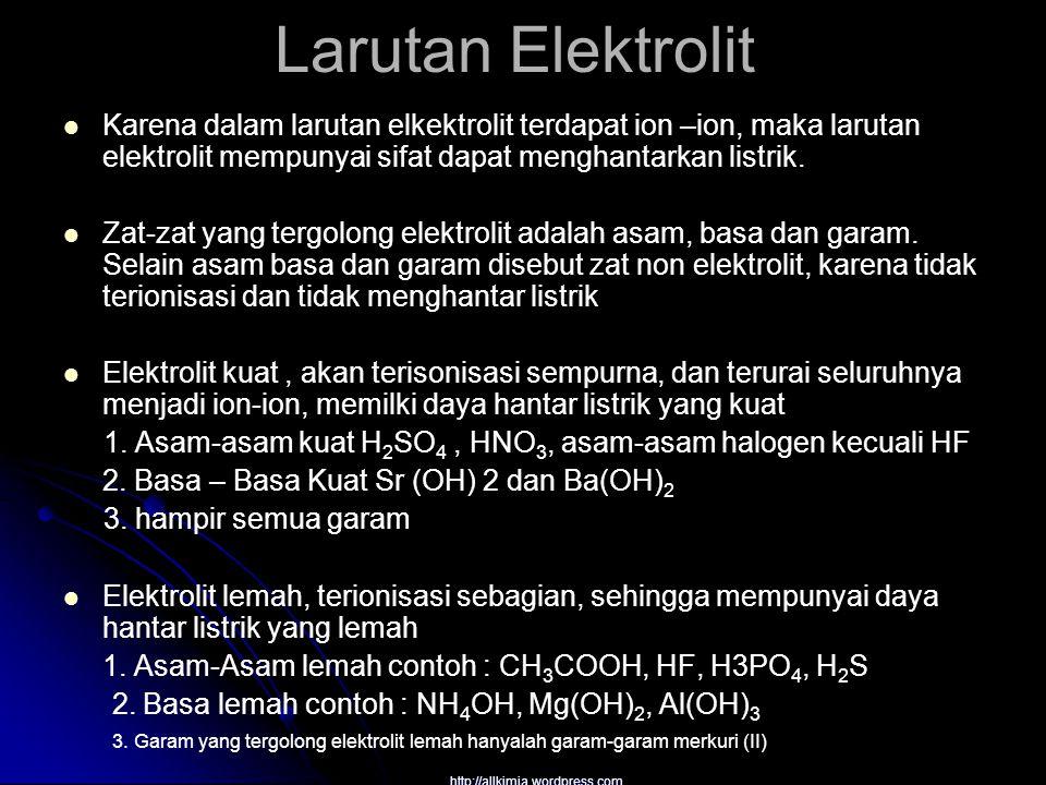 Larutan Elektrolit Karena dalam larutan elkektrolit terdapat ion –ion, maka larutan elektrolit mempunyai sifat dapat menghantarkan listrik. Zat-zat ya
