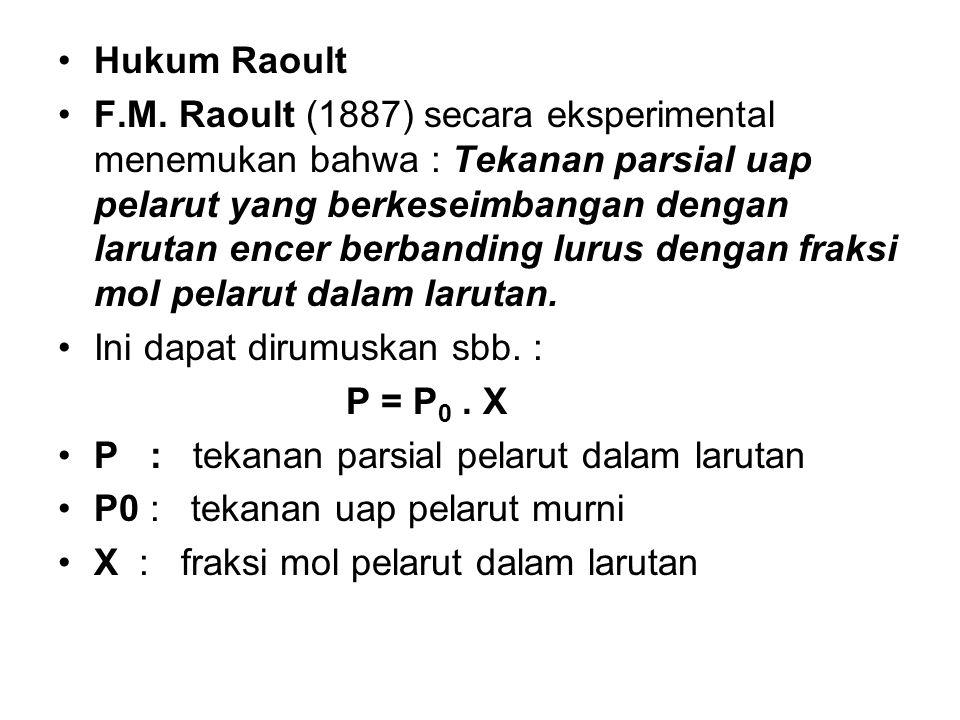Hukum Raoult F.M. Raoult (1887) secara eksperimental menemukan bahwa : Tekanan parsial uap pelarut yang berkeseimbangan dengan larutan encer berbandin