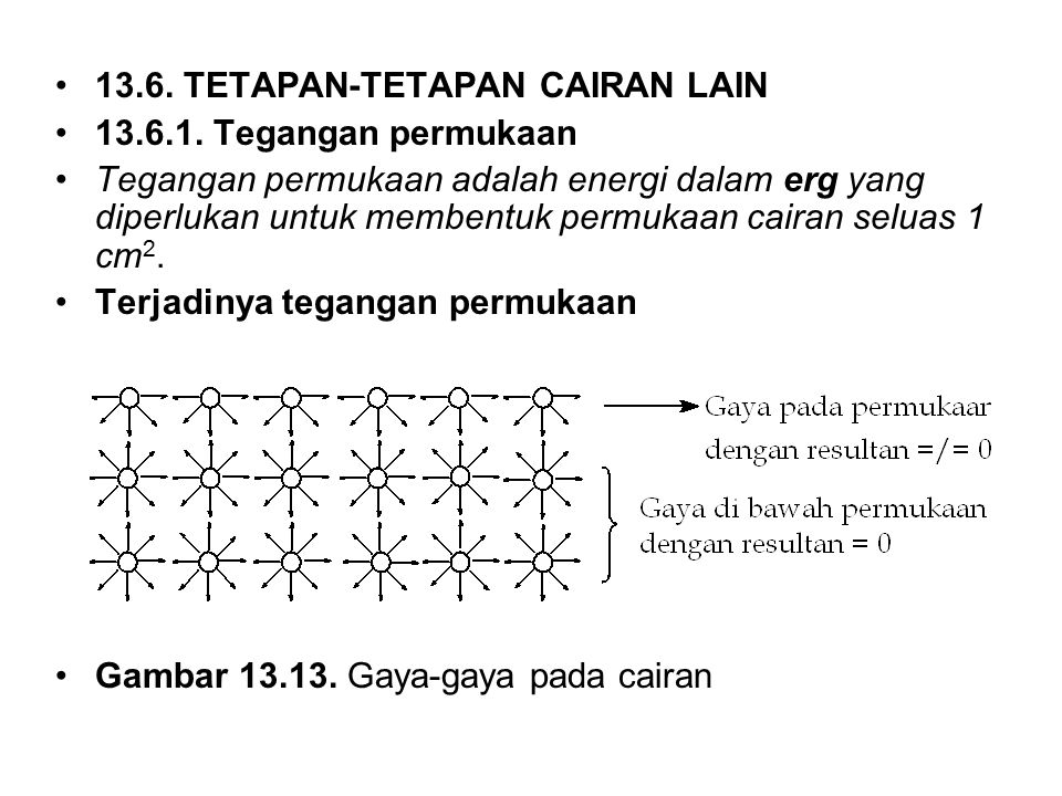 13.6. TETAPAN-TETAPAN CAIRAN LAIN 13.6.1. Tegangan permukaan Tegangan permukaan adalah energi dalam erg yang diperlukan untuk membentuk permukaan cair