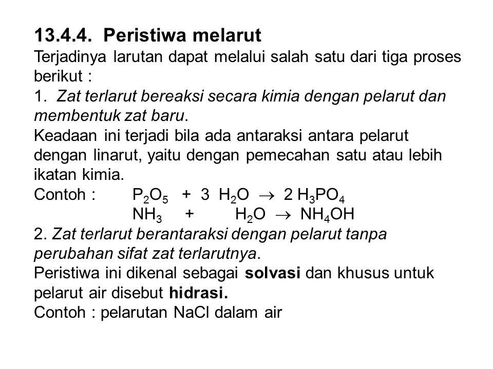 13.4.4. Peristiwa melarut Terjadinya larutan dapat melalui salah satu dari tiga proses berikut : 1. Zat terlarut bereaksi secara kimia dengan pelarut