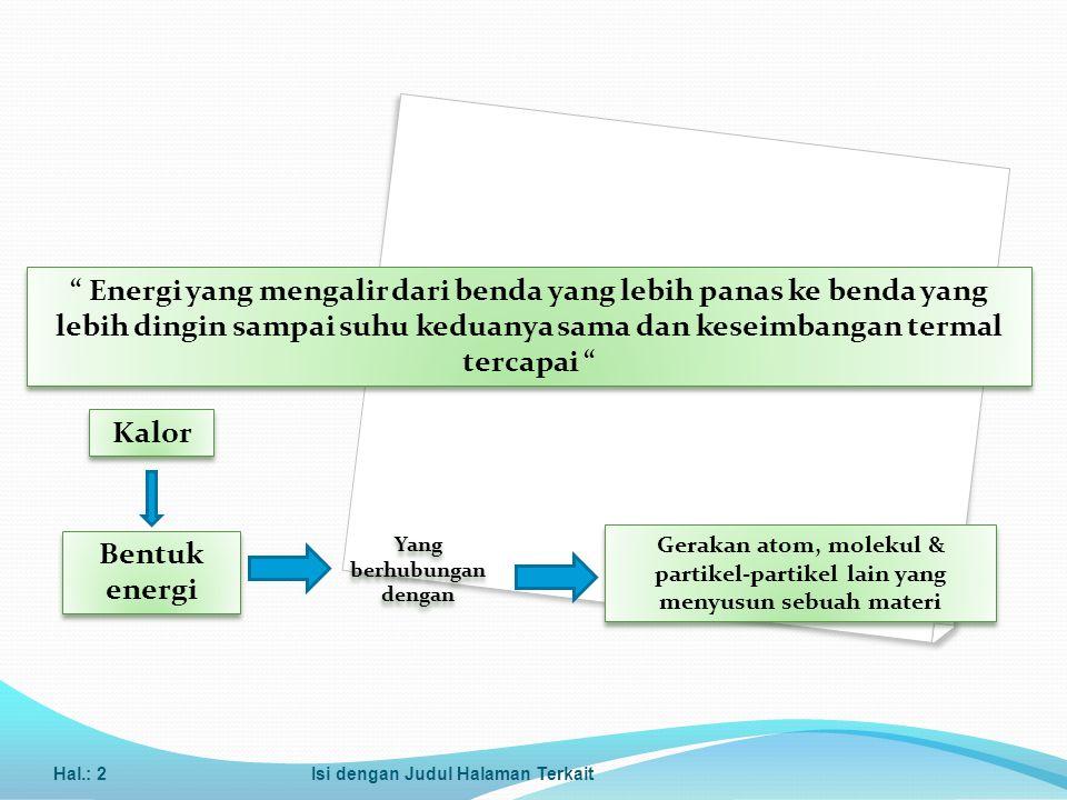 Kalor Jenis dan Kapasitas Kalor Kapasitas kalor adalah kalor yang dibutuhkan oleh benda untuk mengubah suhunya sebesar 1 o C atau 1 K.