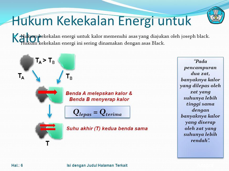 Adaptif Hukum Kekekalan Energi untuk Kalor Hukum kekekalan energi untuk kalor memenuhi asas yang diajukan oleh joseph black. Hukum kekekalan energi in