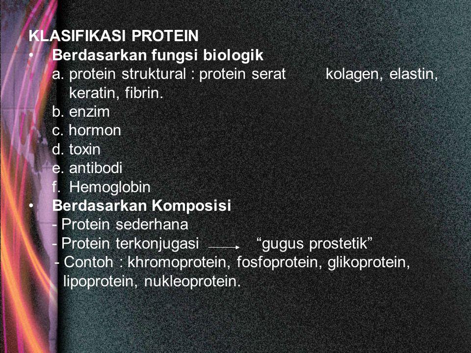 KLASIFIKASI PROTEIN Berdasarkan fungsi biologik a. protein struktural : protein serat kolagen, elastin, keratin, fibrin. b. enzim c. hormon d. toxin e