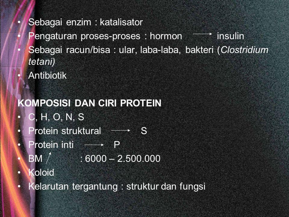 Sebagai enzim : katalisator Pengaturan proses-proses : hormon insulin Sebagai racun/bisa : ular, laba-laba, bakteri (Clostridium tetani) Antibiotik KO