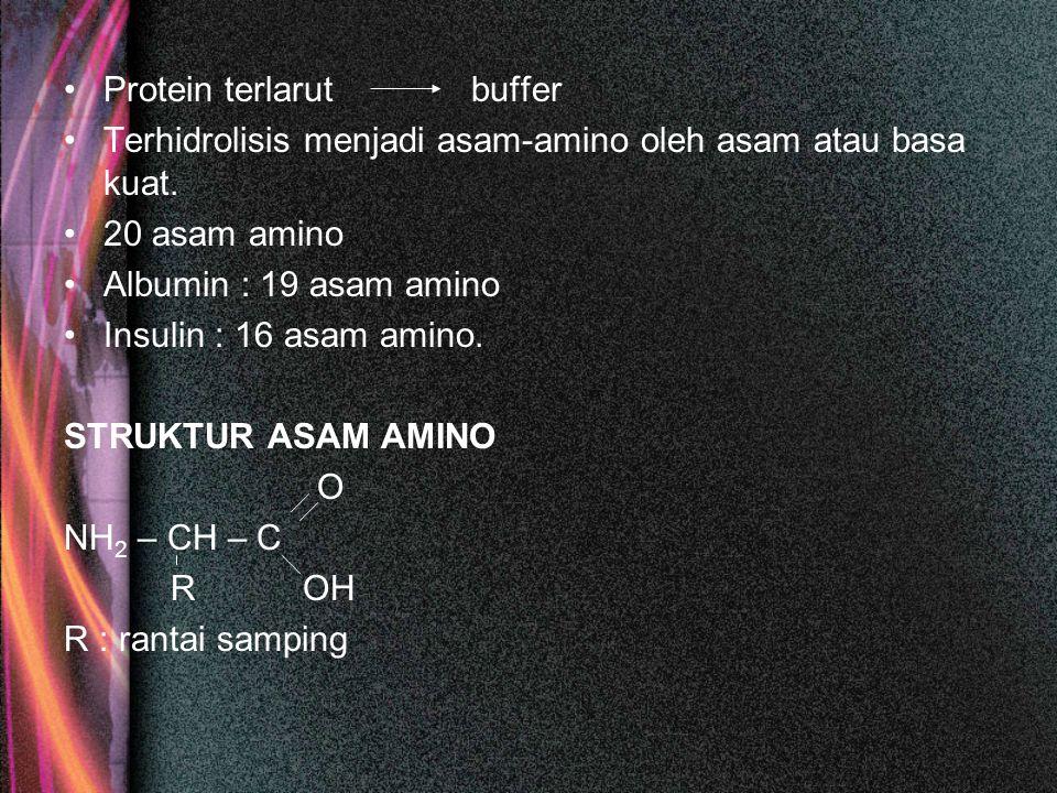 Protein terlarut buffer Terhidrolisis menjadi asam-amino oleh asam atau basa kuat. 20 asam amino Albumin : 19 asam amino Insulin : 16 asam amino. STRU