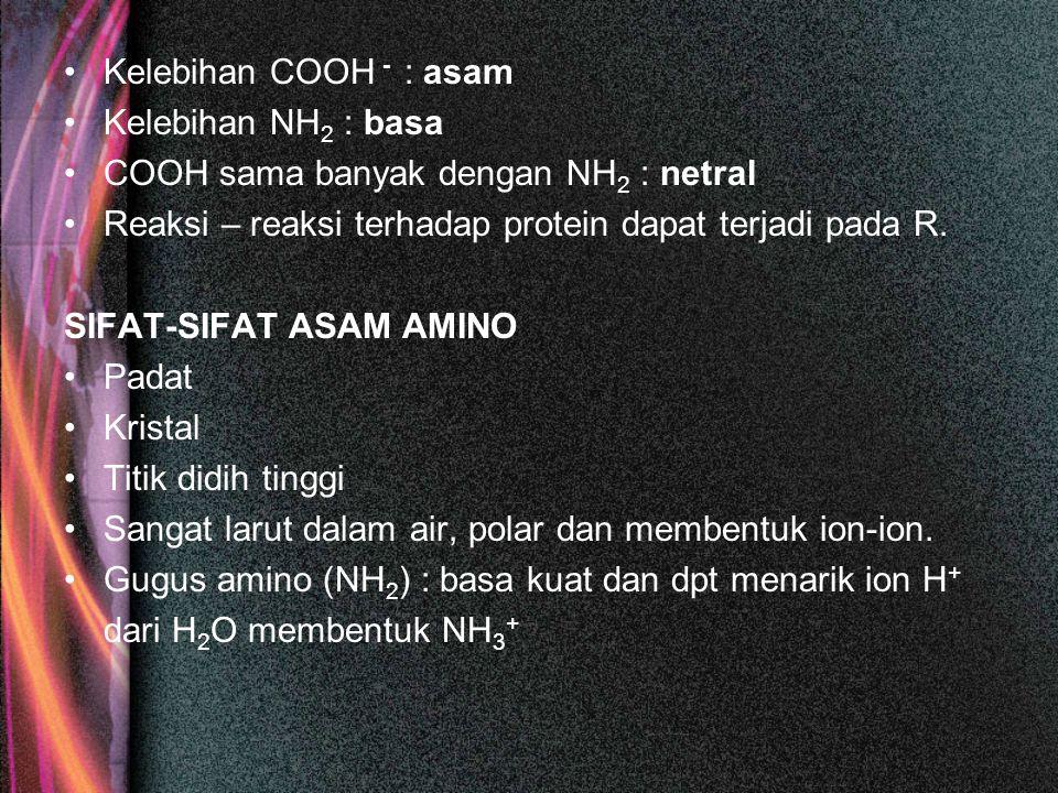 Kelebihan COOH - : asam Kelebihan NH 2 : basa COOH sama banyak dengan NH 2 : netral Reaksi – reaksi terhadap protein dapat terjadi pada R. SIFAT-SIFAT