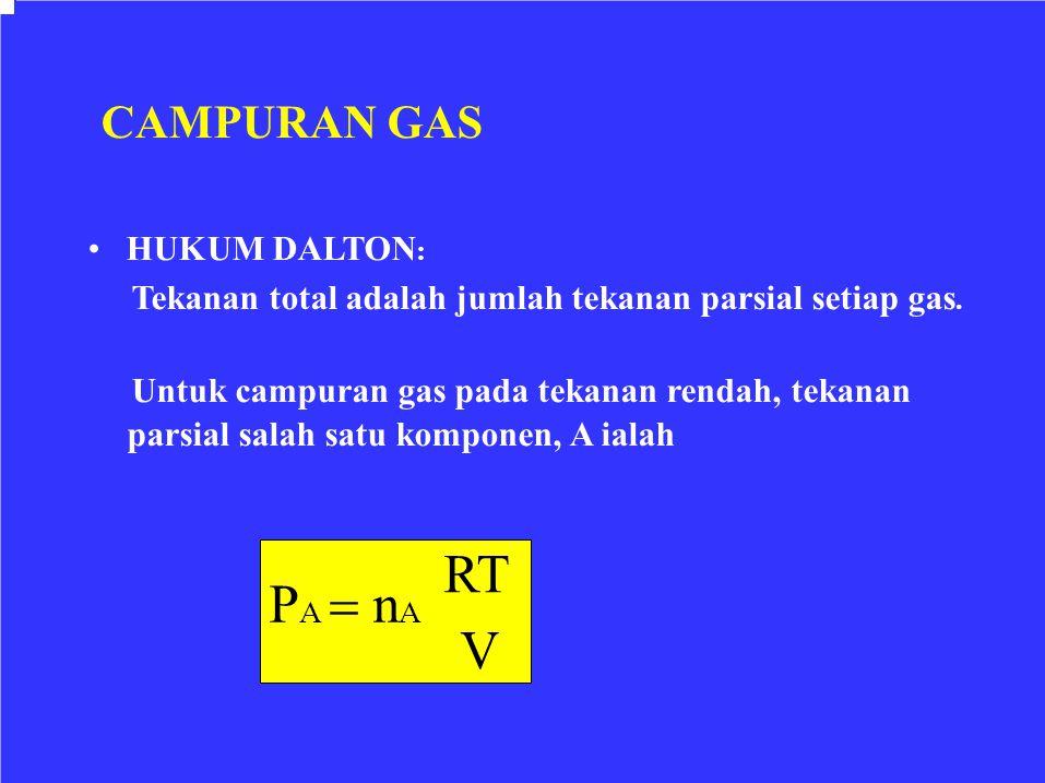CAMPURAN GAS HUKUM DALTON : Tekanan total adalah jumlah tekanan parsial setiap gas. Untuk campuran gas pada tekanan rendah, tekanan parsial salah satu