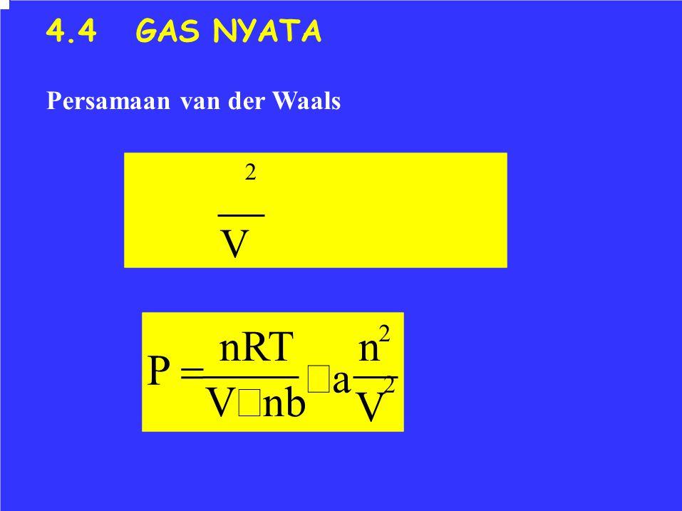 n − a 2 2V2V nRT V − nb P  4.4 GAS NYATA Persamaan van der Waals 2 V