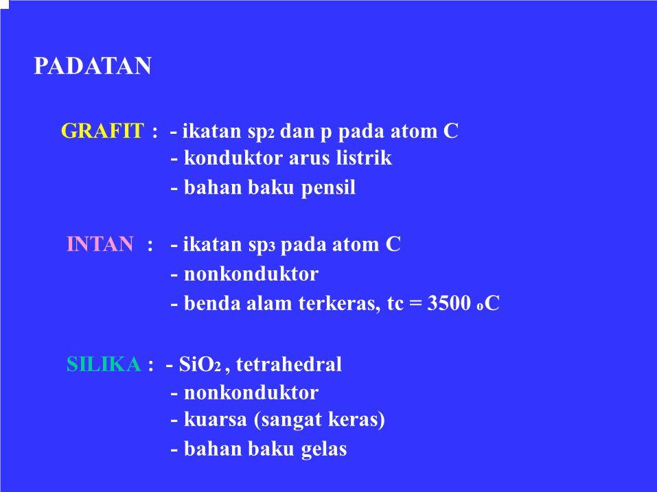 PADATAN GRAFIT : - ikatan sp 2 dan p pada atom C - konduktor arus listrik - bahan baku pensil INTAN : - ikatan sp 3 pada atom C - nonkonduktor - benda