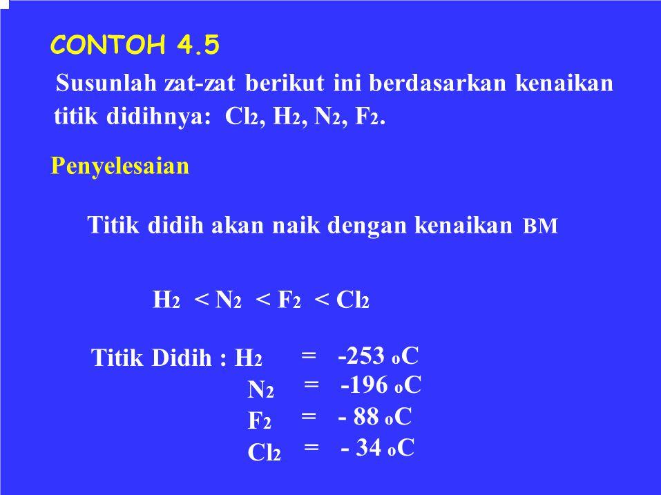 CONTOH 4.5 Susunlah zat-zat berikut ini berdasarkan kenaikan titik didihnya: Cl 2, H 2, N 2, F 2. Penyelesaian Titik didih akan naik dengan kenaikan B