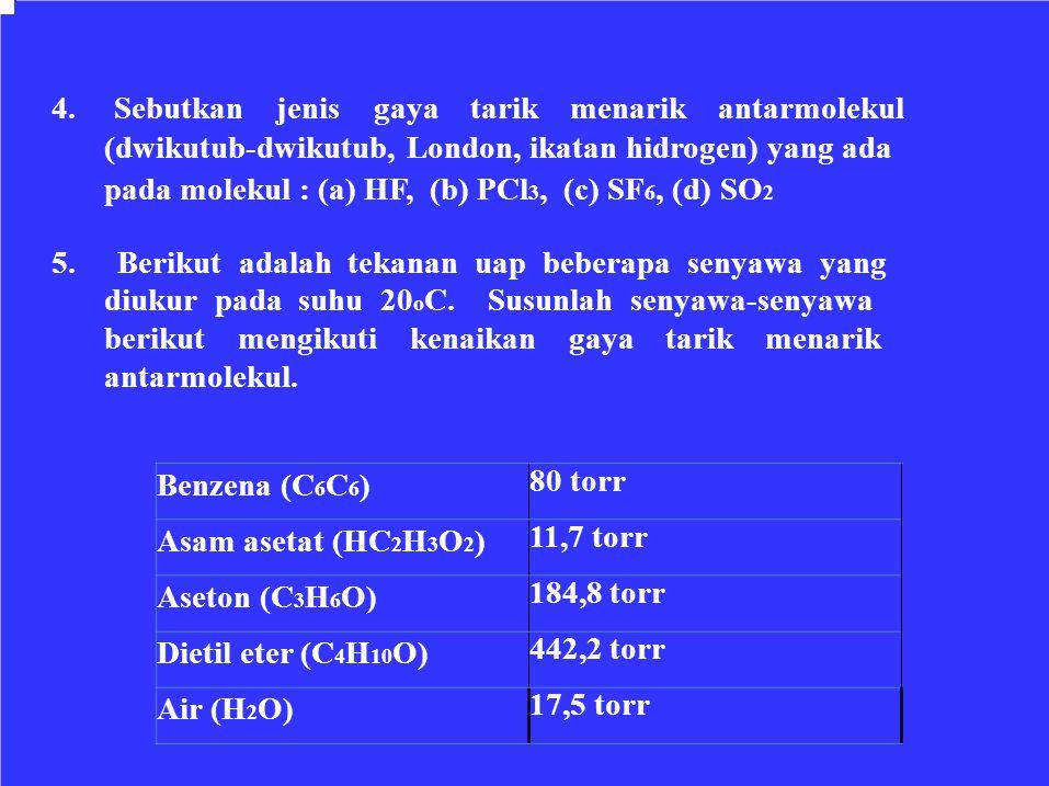 Benzena (C 6 C 6 ) 80 torr Asam asetat (HC 2 H 3 O 2 ) 11,7 torr Aseton (C 3 H 6 O) 184,8 torr Dietil eter (C 4 H 10 O) 442,2 torr Air (H 2 O) 17,5 to