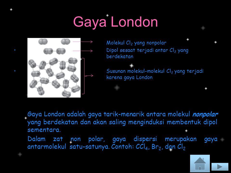 Gaya London Molekul Cl 2 yang nonpolar Dipol sesaat terjadi antar Cl 2 yang berdekatan Dipol sesaat terjadi antar Cl 2 yang berdekatan Susunan molekul-molekul Cl 2 yang terjadi karena gaya LondonSusunan molekul-molekul Cl 2 yang terjadi karena gaya London Gaya London adalah gaya tarik-menarik antara molekul nonpolar yang berdekatan dan akan saling menginduksi membentuk dipol sementara.