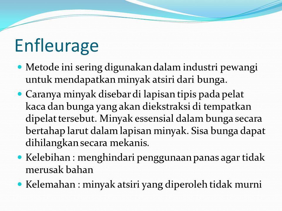 Enfleurage Metode ini sering digunakan dalam industri pewangi untuk mendapatkan minyak atsiri dari bunga. Caranya minyak disebar di lapisan tipis pada