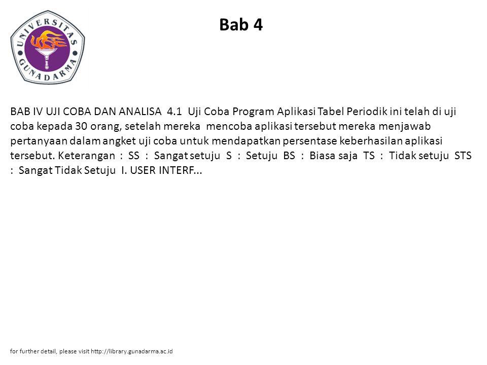 Bab 4 BAB IV UJI COBA DAN ANALISA 4.1 Uji Coba Program Aplikasi Tabel Periodik ini telah di uji coba kepada 30 orang, setelah mereka mencoba aplikasi tersebut mereka menjawab pertanyaan dalam angket uji coba untuk mendapatkan persentase keberhasilan aplikasi tersebut.
