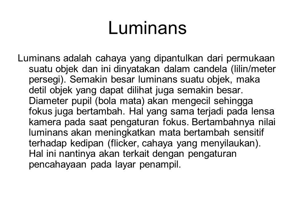 Luminans Luminans adalah cahaya yang dipantulkan dari permukaan suatu objek dan ini dinyatakan dalam candela (lilin/meter persegi).