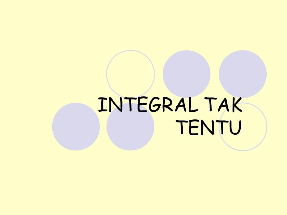 Anti turunan dan integral tak tentu Misal diketahui fungsi f maka proses integrasi adalah proses menentukan F(x) sedemikian rupa sehingga F'(x) = f(x).