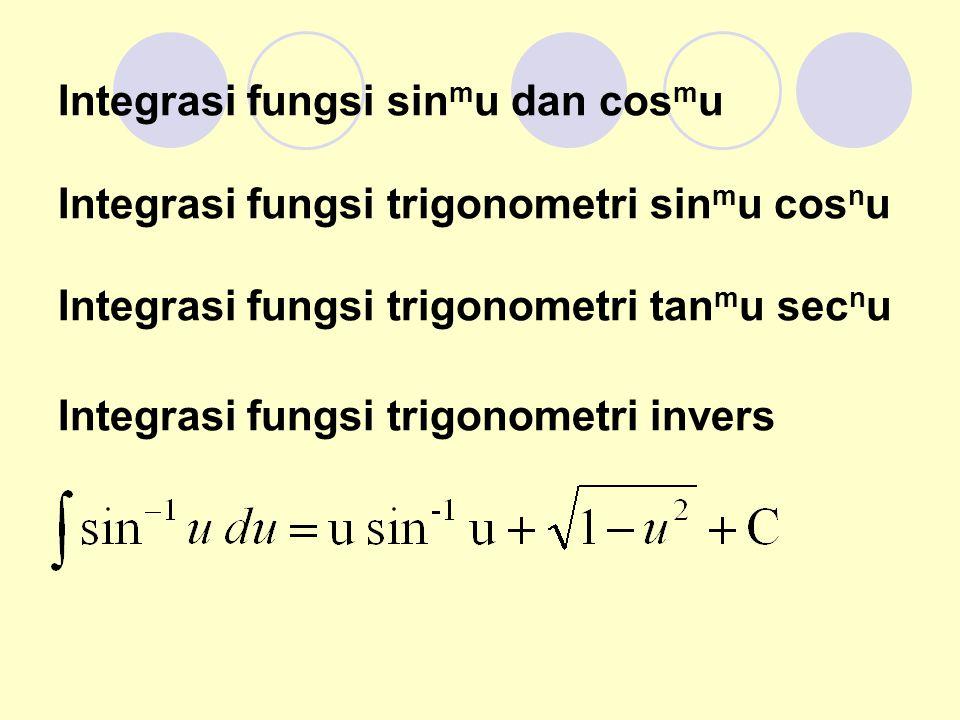 Integrasi fungsi sin m u dan cos m u Integrasi fungsi trigonometri sin m u cos n u Integrasi fungsi trigonometri tan m u sec n u Integrasi fungsi trigonometri invers