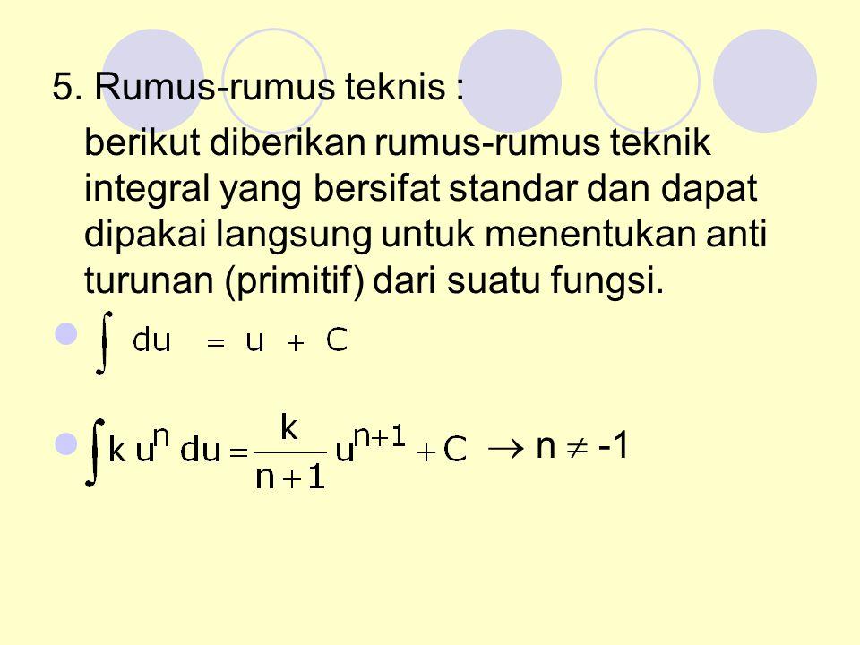 5. Rumus-rumus teknis : berikut diberikan rumus-rumus teknik integral yang bersifat standar dan dapat dipakai langsung untuk menentukan anti turunan (