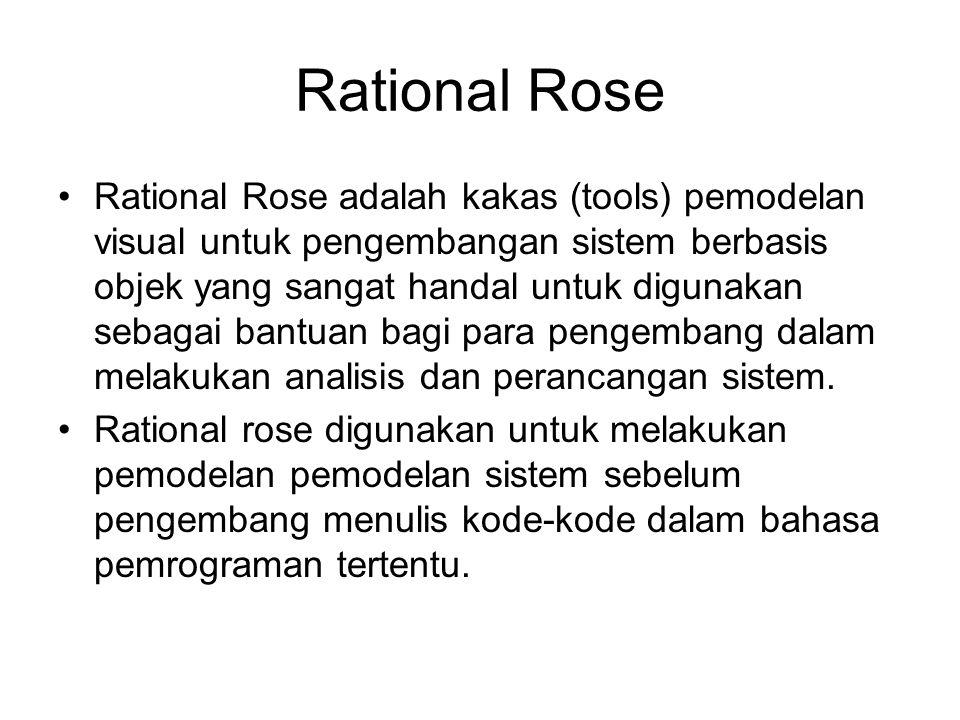 Rational Rose Rational Rose adalah kakas (tools) pemodelan visual untuk pengembangan sistem berbasis objek yang sangat handal untuk digunakan sebagai bantuan bagi para pengembang dalam melakukan analisis dan perancangan sistem.