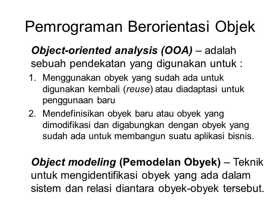 Pemrograman Berorientasi Objek Object-oriented analysis (OOA) – adalah sebuah pendekatan yang digunakan untuk : 1.Menggunakan obyek yang sudah ada untuk digunakan kembali (reuse) atau diadaptasi untuk penggunaan baru 2.Mendefinisikan obyek baru atau obyek yang dimodifikasi dan digabungkan dengan obyek yang sudah ada untuk membangun suatu aplikasi bisnis.