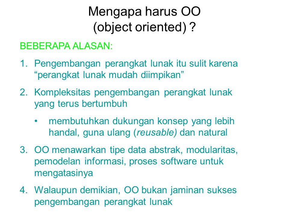 """Mengapa harus OO (object oriented) ? BEBERAPA ALASAN: 1.Pengembangan perangkat lunak itu sulit karena """"perangkat lunak mudah diimpikan"""" 2.Kompleksitas"""