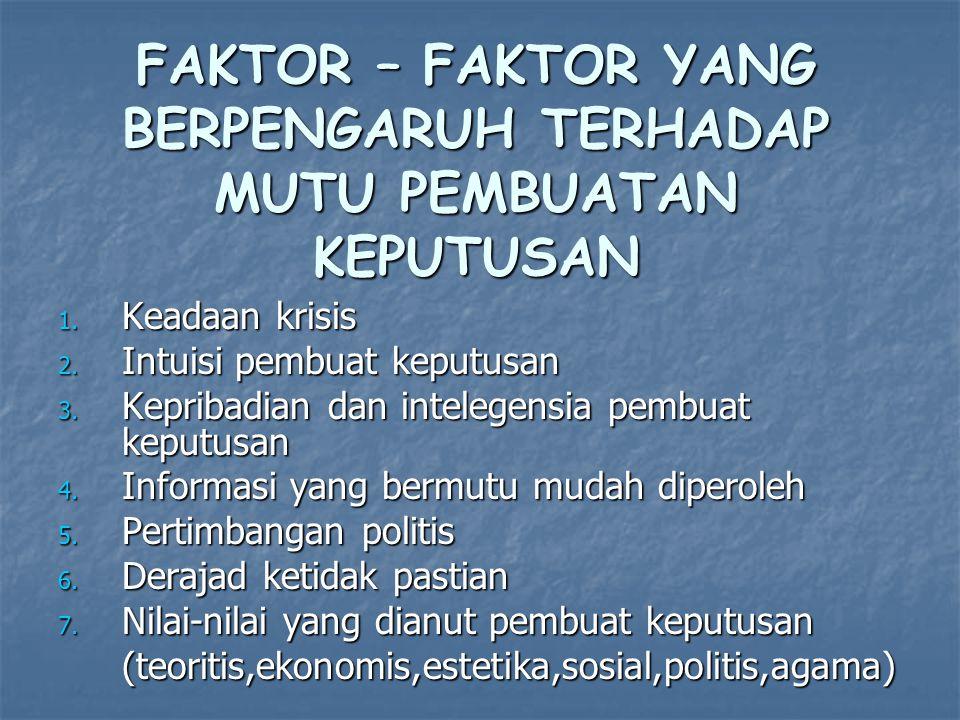 FAKTOR – FAKTOR YANG BERPENGARUH TERHADAP MUTU PEMBUATAN KEPUTUSAN 1. Keadaan krisis 2. Intuisi pembuat keputusan 3. Kepribadian dan intelegensia pemb