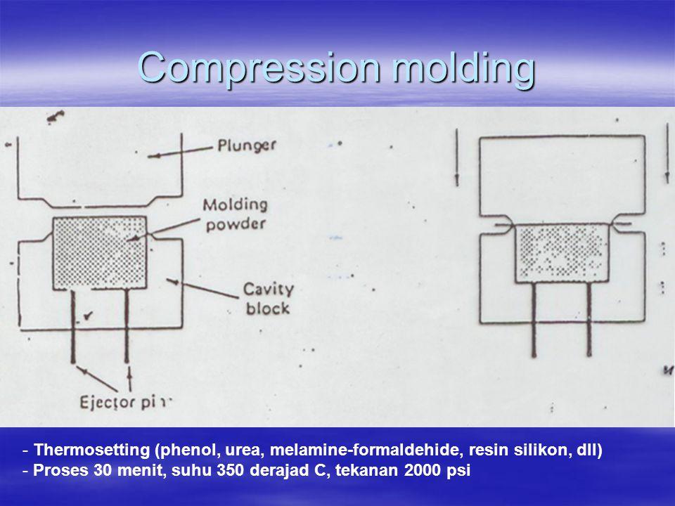 Compression molding - Thermosetting (phenol, urea, melamine-formaldehide, resin silikon, dll) - Proses 30 menit, suhu 350 derajad C, tekanan 2000 psi
