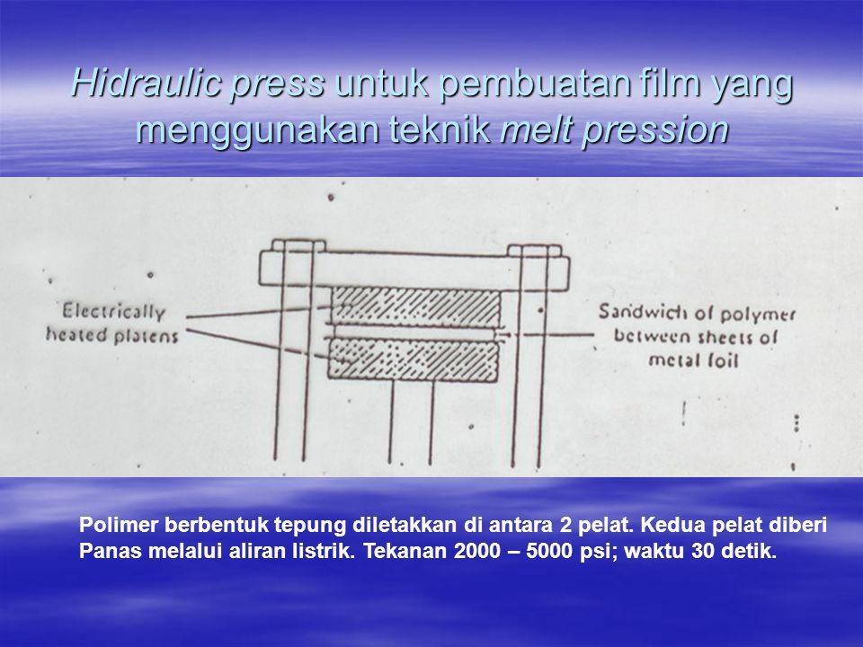 Hidraulic press untuk pembuatan film yang menggunakan teknik melt pression Polimer berbentuk tepung diletakkan di antara 2 pelat. Kedua pelat diberi P
