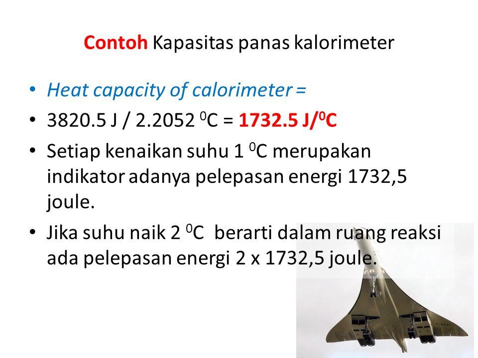 Contoh Kapasitas panas kalorimeter Heat capacity of calorimeter = 3820.5 J / 2.2052 0 C = 1732.5 J/ 0 C Setiap kenaikan suhu 1 0 C merupakan indikator adanya pelepasan energi 1732,5 joule.