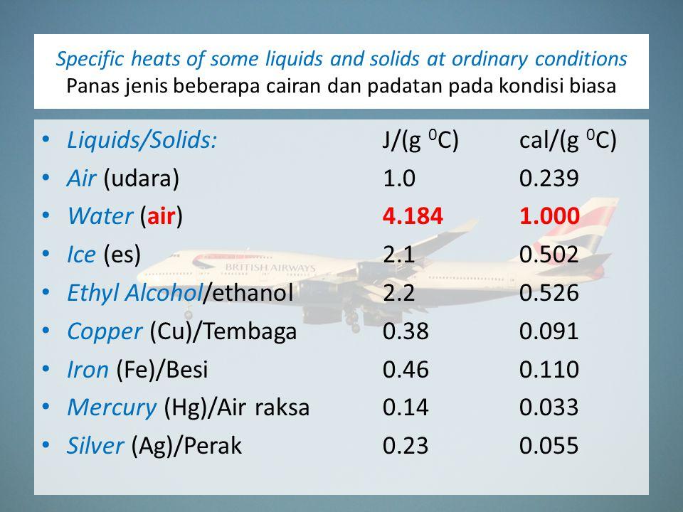 Specific heats of some liquids and solids at ordinary conditions Panas jenis beberapa cairan dan padatan pada kondisi biasa Liquids/Solids:J/(g 0 C)cal/(g 0 C) Air (udara)1.00.239 Water (air)4.1841.000 Ice (es)2.10.502 Ethyl Alcohol/ethanol2.20.526 Copper (Cu)/Tembaga0.380.091 Iron (Fe)/Besi0.460.110 Mercury (Hg)/Air raksa0.140.033 Silver (Ag)/Perak0.230.055