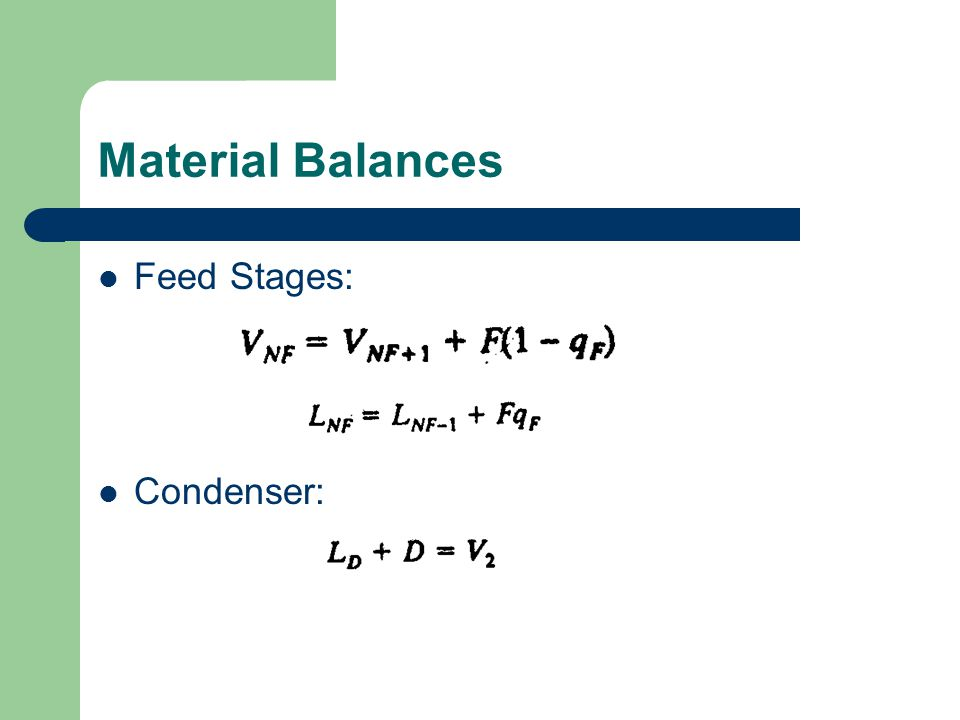 Material Balances Feed Stages: Condenser: