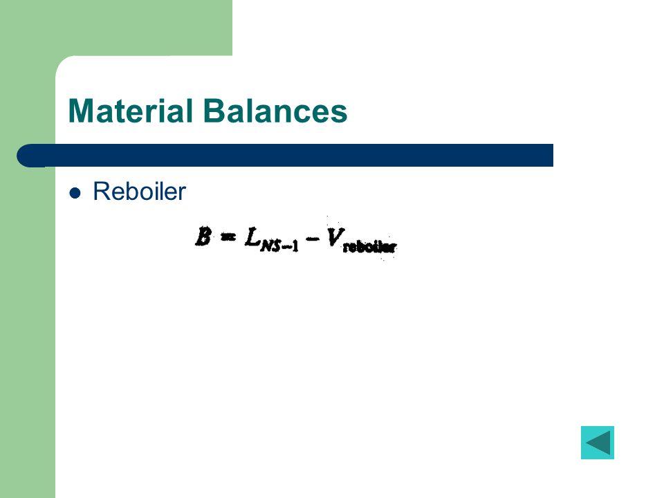 Material Balances Reboiler