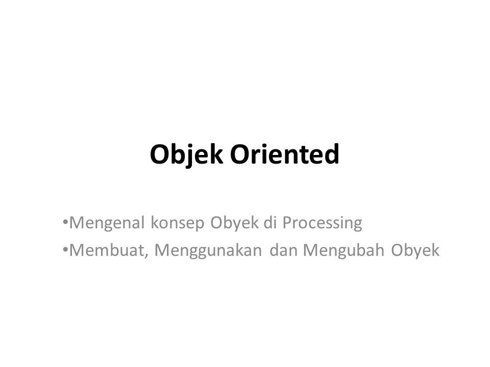 Mengenal konsep obyek di Processing Menggambar pada layar komputer adalah seperti menggambar pada sebuah kertas grafik Pixel adalah grid dari element pencahayaan pada layar komputer Koordinat-X : Nilai yang mewakili sumbu X (Horizontal) Koordinat-Y : Nilai yang mewakili sumbu Y (Vertikal)