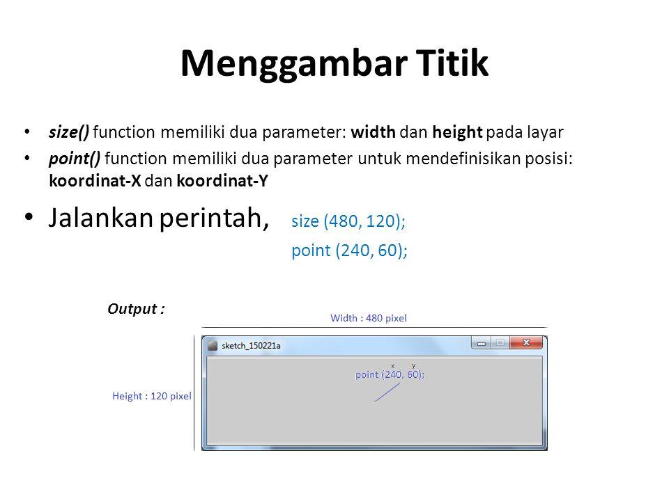 Menggambar Titik size() function memiliki dua parameter: width dan height pada layar point() function memiliki dua parameter untuk mendefinisikan posi