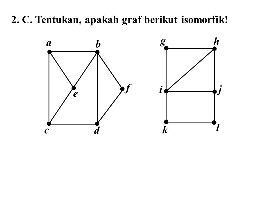 2. C. Tentukan, apakah graf berikut isomorfik! a f e c d b    g h i l j k