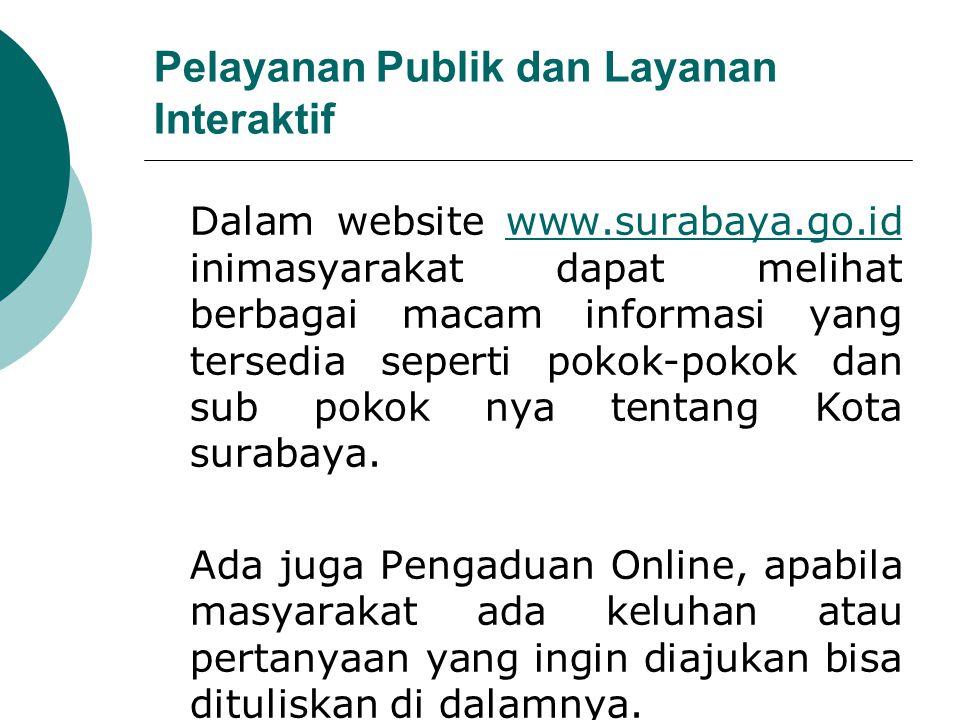 Pelayanan Publik dan Layanan Interaktif Dalam website www.surabaya.go.id inimasyarakat dapat melihat berbagai macam informasi yang tersedia seperti po