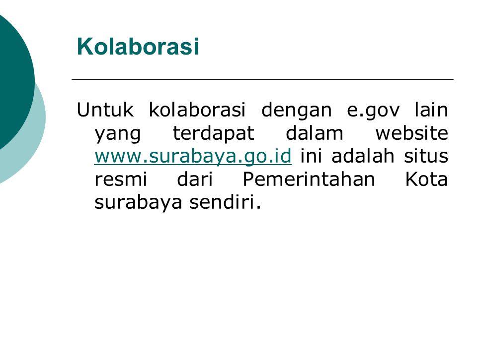 Kolaborasi Untuk kolaborasi dengan e.gov lain yang terdapat dalam website www.surabaya.go.id ini adalah situs resmi dari Pemerintahan Kota surabaya se