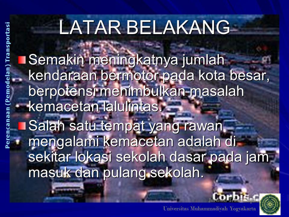 TUJUAN Tujuan penulisan makalah ini adalah membuat model bangkitan pergerakan (trip generation) kendaraan roda empat pada tata guna lahan sekolah dasar swasta di Surabaya.