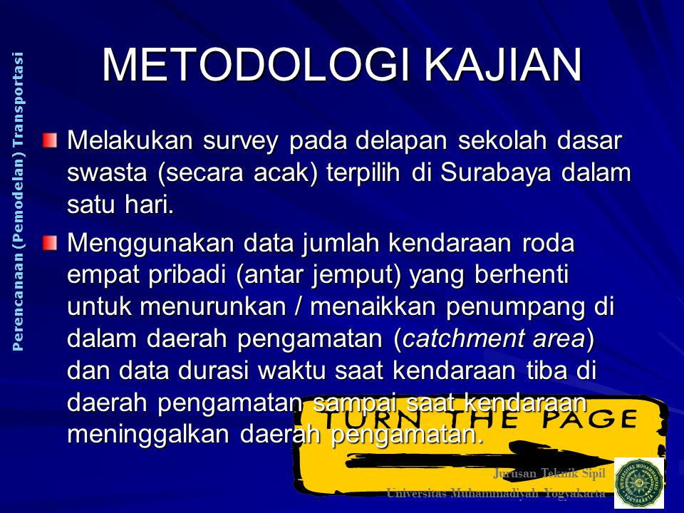 METODOLOGI KAJIAN Melakukan survey pada delapan sekolah dasar swasta (secara acak) terpilih di Surabaya dalam satu hari. Menggunakan data jumlah kenda