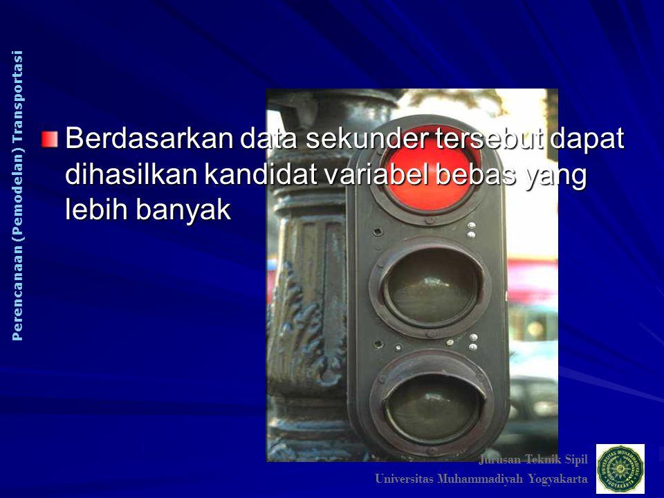 Berdasarkan data sekunder tersebut dapat dihasilkan kandidat variabel bebas yang lebih banyak Jurusan Teknik Sipil Universitas Muhammadiyah Yogyakarta