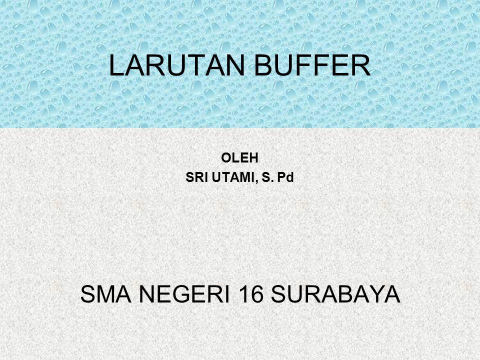 LARUTAN BUFFER OLEH SRI UTAMI, S. Pd SMA NEGERI 16 SURABAYA