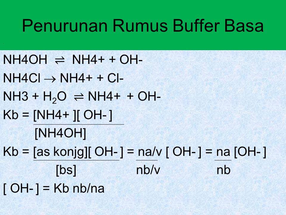 Penurunan Rumus Buffer Basa NH4OH ⇌ NH4+ + OH- NH4Cl  NH4+ + Cl- NH3 + H 2 O ⇌ NH4+ + OH- Kb = [NH4+ ][ OH- ] [NH4OH] Kb = [as konjg][ OH- ] = na/v [