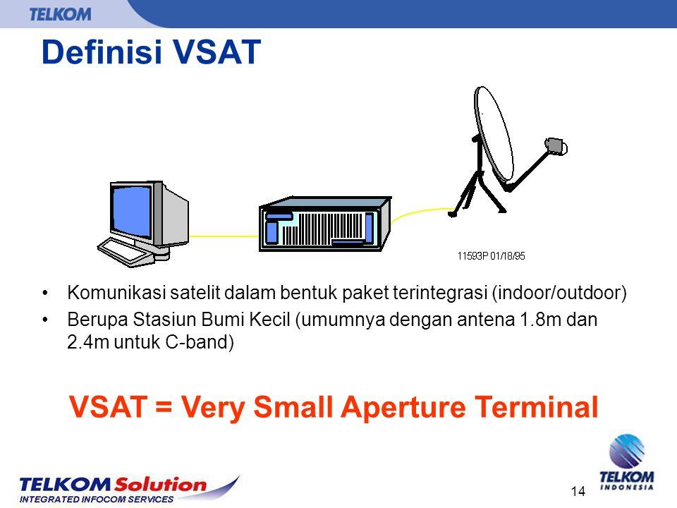 14 Definisi VSAT Komunikasi satelit dalam bentuk paket terintegrasi (indoor/outdoor) Berupa Stasiun Bumi Kecil (umumnya dengan antena 1.8m dan 2.4m un