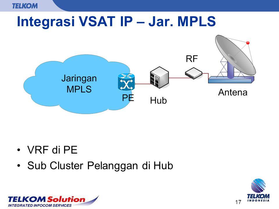 17 Integrasi VSAT IP – Jar. MPLS VRF di PE Sub Cluster Pelanggan di Hub